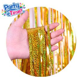 cortina foil holografiada dorada