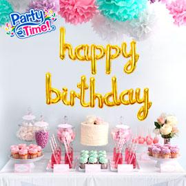 globo letras cursivas feliz cumpleaños dorado
