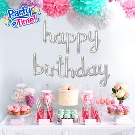globo letras cursivas feliz cumpleaños plateado