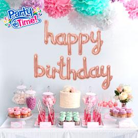 globo letras cursivas feliz cumpleaños rose gold