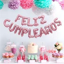 globo letras feliz cumpleaños palo rosa