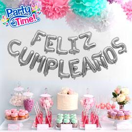 globo letras feliz cumpleaños plateado