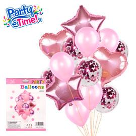 globo 14 piezas palo rosa