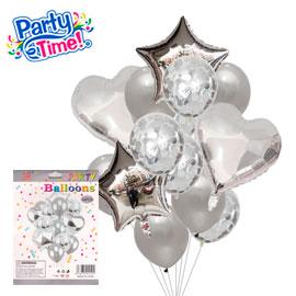 globo 14 piezas rose plata